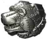 Cyborg Dog Belt Buckle + display stand. Code KF7